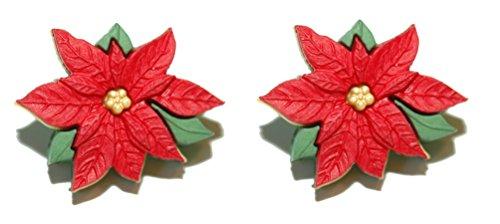 Beautiful Christmas Poinsettia Flower Clip On Earrings (H026clip)