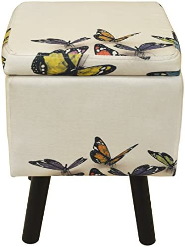WATSONS BUTTERFLY - Contemporary Retro Square Padded Storage Stool - Cream/Multi