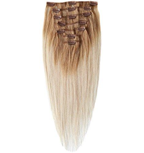 OMBRE FARBEN Echthaar Clip In Extensions, Haarlänge 50cm, Set mit 7 Tressen, 15 Clips , Haarverlängerung (mittelblond / platin)