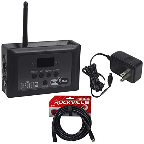 Chauvet D-Fi Hub Compact Wireless Transmitter/Receiver w/OLED Display+DMX Cable ()