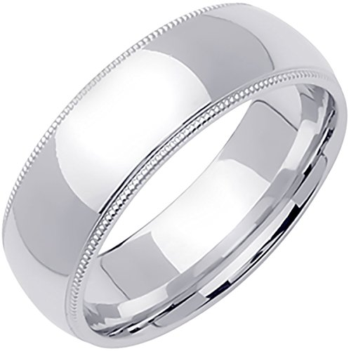 (Platinum Traditional Milgrain Edge Men's Comfort Fit Wedding Band (7mm) Size-14c1)