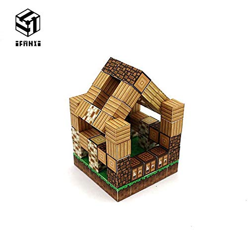 Best Quality Minecraft Magnetic Building Blocks Models Bricks Hand Paste Compatible with Lego DIY Brain Toy hardcover-Forest House Set ()