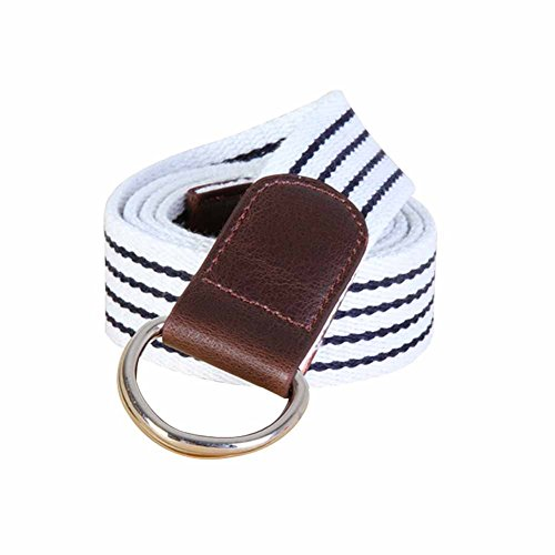 Sitong Unisex casual striped canvas woven belt(white)
