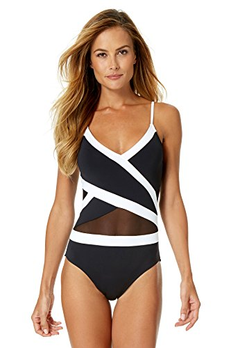 Anne Cole Women's Mesh Cross Over One Piece Swimsuit-14-AC16_MeshB/W