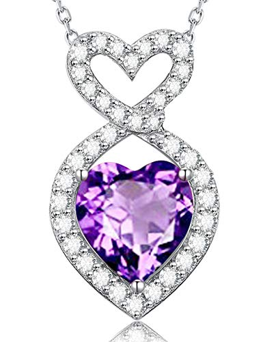 Fine Gifts For Women Natural Heart Amethyst Gemstone Necklace Sterling Silver