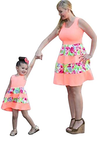 YMING Family Matching Clothes Outfits Mother or Daughter Flower Dress 6-7 Years (Pink,Kids,L)