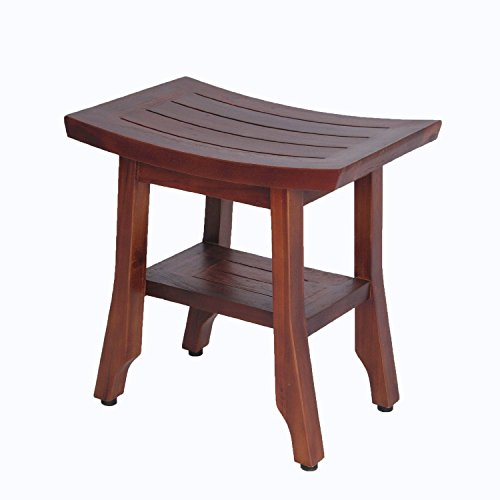 """Satori 18"""" Eastern Style Solid Teak Shower Bench WITH SHE..."""