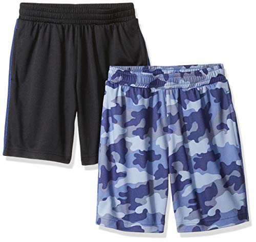 Amazon Essentials Toddler Boys' 2-Pack Mesh Short, Camo/Black, 4T