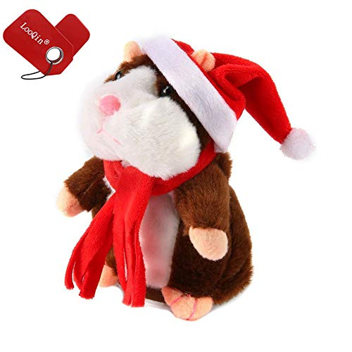 15cm Lovely Talking Hamster Sound Record Repeat Stuffed Plush Christmas Animal Kawaii Talking Nodding Hamster Toy (Brown)