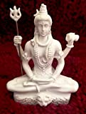 RK Collections 3.25in Lord Shiva Statue in Lotus Pose in Marble White Finish. Lord Shiv/Shiva Statues.