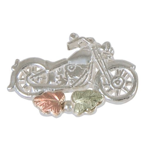 Motorcycle Lapel Pin in Black Hills Gold Sterling Silver - tie tack pin or hat ()