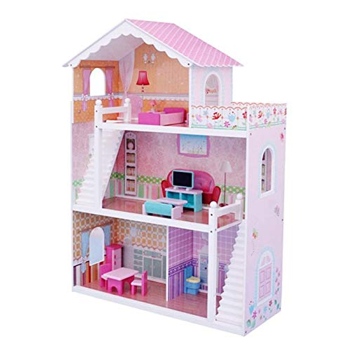 Wooden Doll House Barbi House Pink Colour Doll House