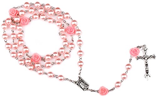 MTFS Pink Color Holy Rosary Virgin Mary Jesus Crucifix Rosary Necklace (Pink)