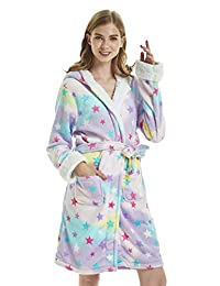 AooToo Girls Robes Flannel Unicorn Hooded Cute Cartoon Animal Nightgowns Soft