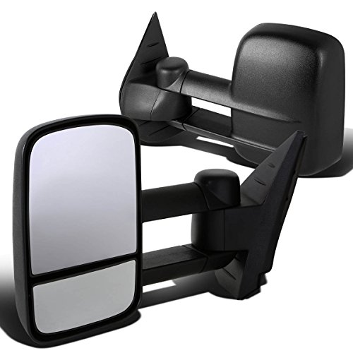(For Silverado/Sierra GMT900 Pair of Telescopic Extended Arm Rear View Manual Folding Towing Side Mirror (Black))