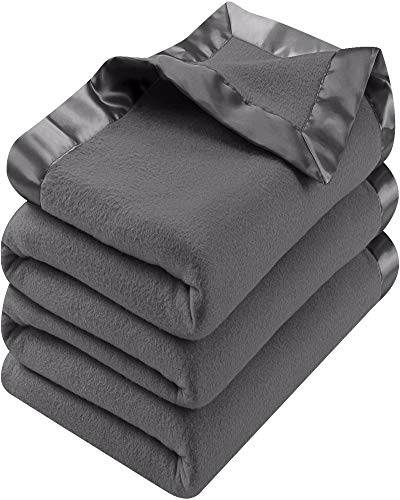 Utopia Bedding Fleece Blanket Queen Size Grey Lightweight Soft Cozy Sateen Bed Blanket Microfiber