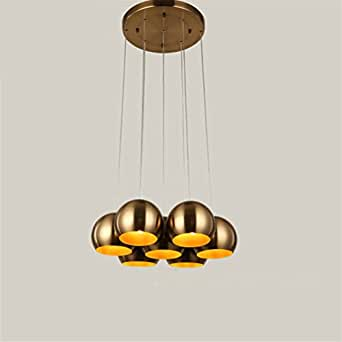 BMEI Nordic Retro Pendant Light for dining room 7 heads bronze electroplating iron ball restaurant Chandeliers E27 industrial Hanging lights