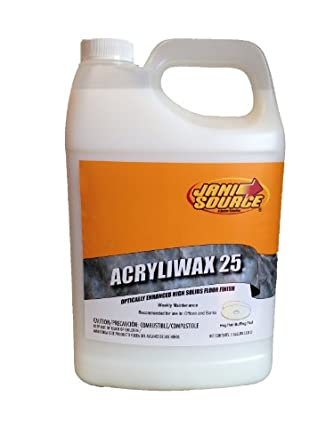 JaniSource 10107500 Acryliwax 25 High Solid Floor Wax, 1 Gallon Bottle  (Pack Of 4