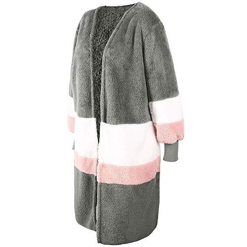 Hiver Cardigan Arctique Longue Ray Rond Longues Patchwork Grande Gris Veste Longues Velours OSYARD Manches Couture Femme dqa1ndE
