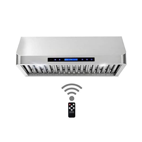 Cosmo QS75 30-in Under-Cabinet Range Hood 900-CFM | Ducted / Ductless Convertible Duct , Wireless Kitchen Stove Vent with LED Light , 3 Speed Exhaust , Fan Timer, Permanent Filter ( Stainless Steel )