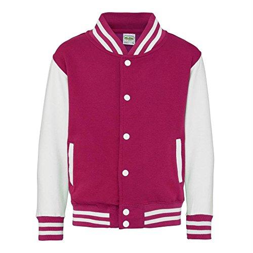 Kid's Varsity Jacket COLOUR Hot Pink/White SIZE 5 TO 6