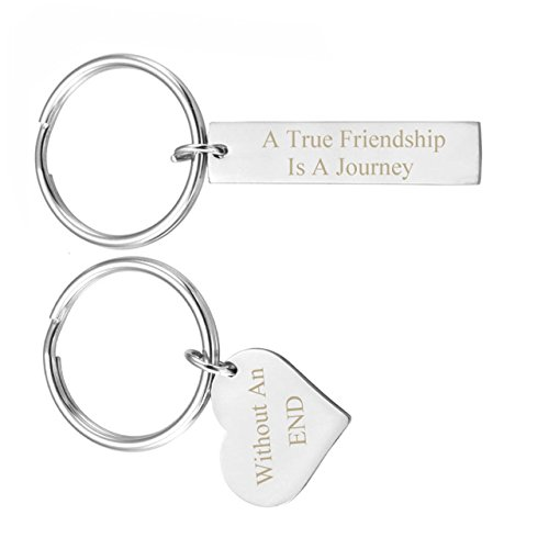 JOVIVI Free Engraving - Personalized Custom Stainless Steel Rectangle Heart Dog Tag Couples Keychain for 2- Valentines Best Friends Gifts by Jovivi