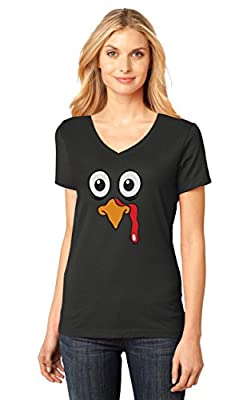 Turkey Face - Funny Thanksgiving Women's Fitted V-Neck T-Shirt