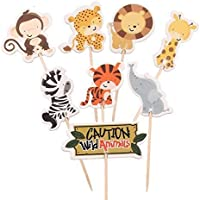 Encore Buy Zoo Animals, Jungle Animals Zoo Baby Shower, Cupcake Toppers (24 count)