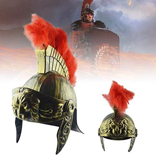 AIMERKUP Party Helmet Plastic Samurai Helmet Vintage Samurai Warrior Helmet Feather Lion Cap Medieval Ancient Roman Cap Helmet for Holiday,Holloween Accepted