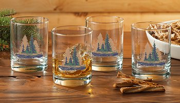 Misty Forest Double Old Fashioned Glasses by Bob Metropulos