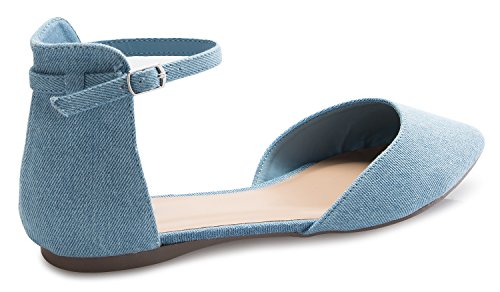 Olivia K Donna Dorsay Punta Aguzza Moda Balletto Fibbia Piatta Cinturino Alla Caviglia Blu Denim