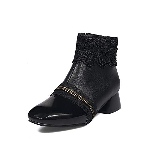 Black 4-4.5 US Black 4-4.5 US Women's Fashion Boots Faux Leather Fall & Winter Boots Chunky Heel Round Toe Booties Ankle Boots White Black