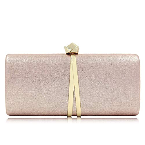 Women Clutches Solid Evening Bag Sparkling Metallic Clutch Purses For Wedding And Party (Rose Gold)