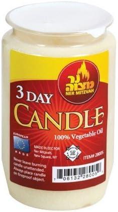 3 Day Yartzeit Candle Kosher Yahrtzeit Memorial and Yom Kippur Candle in Plastic Holder