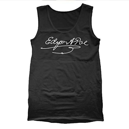 Funny Threads Outlet Edgar Allan Poe Signature Poet Mens Tank Top Large - Outlets Allan