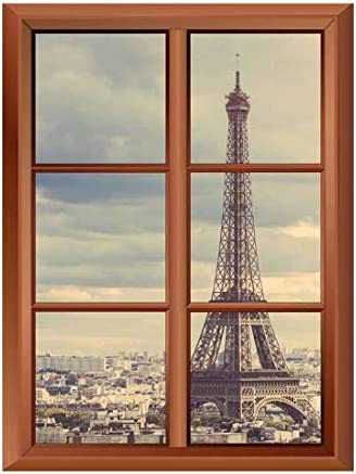 Wall26 Removable Wall Sticker/Wall Mural - Eiffel Tower in Paris - Creative Window View Vinyl Sticker - 36
