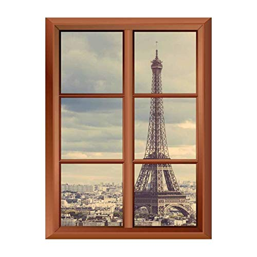 Removable Wall Sticker Wall Mural Eiffel Tower in Paris Creative Window View Vinyl Sticker