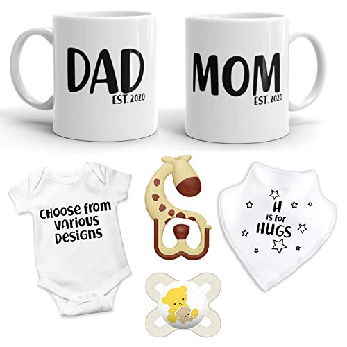 2020 EST Pregnancy Gift - Mommy and Daddy EST 2020 (11 oz Ceramic Mug) Coffee Mug Set with Choice of Baby Romper, BIb, Teether, and Pacifier - Top Pregnancy Gift (0-3 Months - Style C) ()