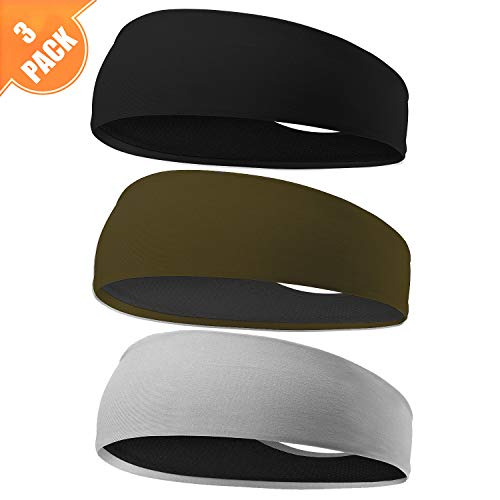 EasYoung Headbands for Men, 3/2/1pack Sweat Bands Headbands Mens Sport Cooling Headbands for Running, Crossfit, Working Out and Performance Stretch Guys Hairbands. ()