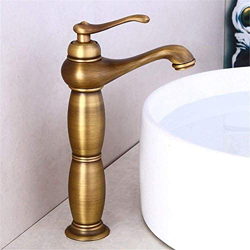 S-TING 蛇口 バスルームのシンクのためのバスルームのシンクミキサータップアンティーク真鍮レトロ温水と冷水単穴タップ 水栓金具 立体水栓 万能水栓