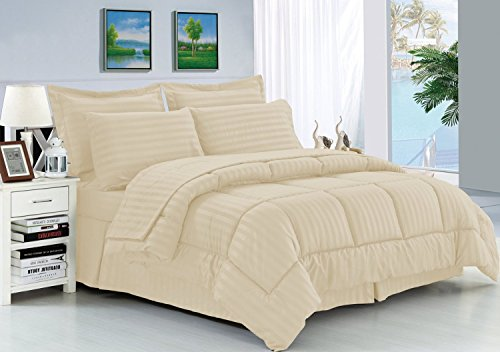 Elegant Comfort Wrinkle Resistant - Silky Soft Dobby Stripe Bed-in-a-Bag 8-Piece Comforter Set --HypoAllergenic - Full/Queen, Ivory