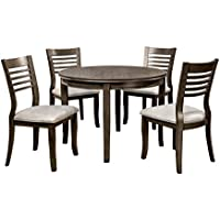 HOMES: Inside + Out Rosy Rought Round Table 5 Piece Dining Set, Gray