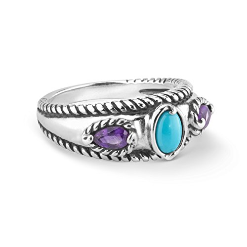Carolyn Pollack Sterling Silver Sleeping Beauty Turquoise and Amethyst Gemstone Stack Band Ring Size 8