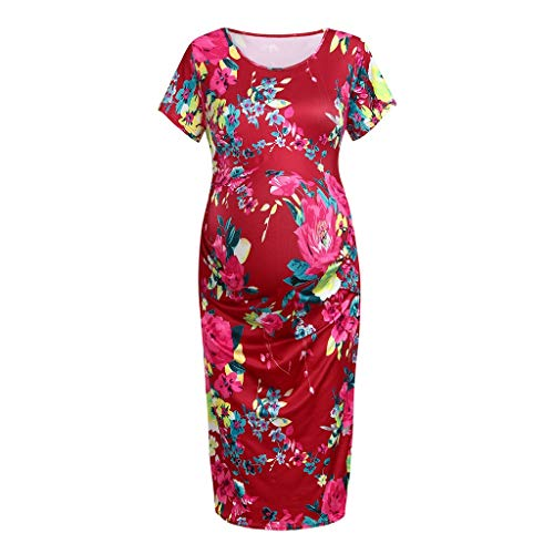 Maternity Dresses for Womens,Summer Casual Short Sleeve Print
