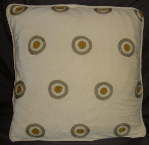 Crewel Pillow Polka Dot Green on Gold Cotton Velvet (14X14)