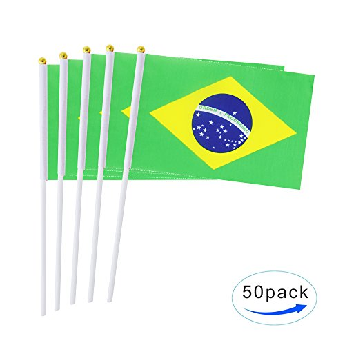 AuTop 50 Pack Small Mini Brazil Brazilian Stick Flag,Hand Held International Countries Stick Flags Banner World Cup Decorations