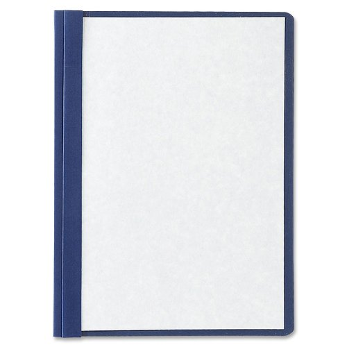 Oxford Linen Clear Front Report Cover, 5 Pack, Letter, Navy 50443