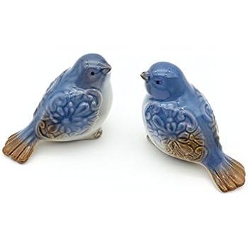 FICITI G340229 Set Of 2 Ceramic Bird Figurines Flower Embellished