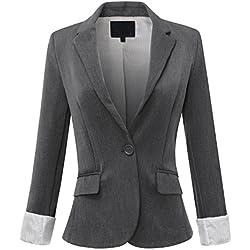 URBAN K WOMENS Basic Cuffed Sleeve Fitted Boyfriend Blazer