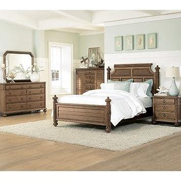 Delightful American Drew Grand Isle 5 Piece Panel Bedroom Set In Amber
